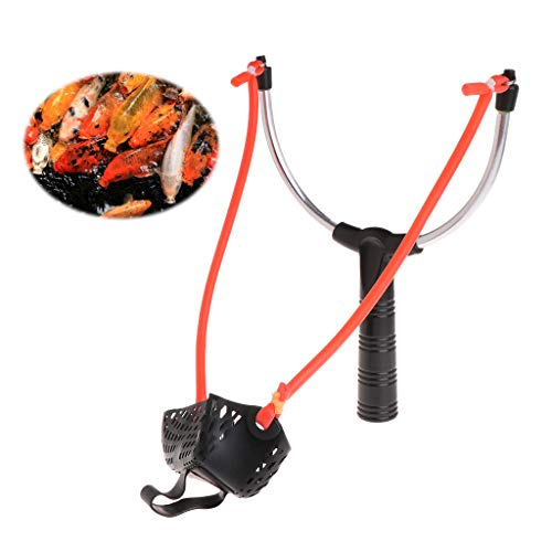 Bait Slingshot Fishing Bait Slingshot Thrower Aluminum Alloy Elastic Powerful Catapult Food Bag