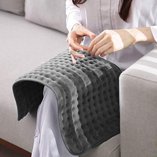 Heizkissen mit Abschaltautomatik für Rücken Nacken Schulter Füße 30 * 60 Wärmekissen Elektrisch 6 Stufen Temperaturstufen Schnell Heiztechnik Grau