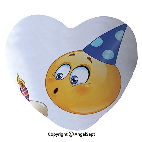 - AngelSept Super Soft Heart-Shaped Throw Pillow Happy Emoji Face with Cone Hat Blowing Party Cake Home Car Decorative Pillows with Zip,Yellow and Dark Blue