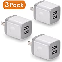USB Wall Charger, BEST4ONE 3-Pack 2.1A/5V Dual Port USB Plug Power Adapter Charging Cube for iPhone X 8/7/6 Plus SE/5S/4S,iPad, iPod, Samsung, Android Phone -White