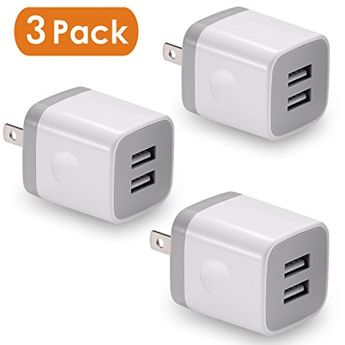 USB Wall Charger, BEST4ONE 3-Pack 2.1A/5V Dual Port USB Plug Power Adapter Charging Cube for iPhone X 8/7/6 Plus SE/5S/4S,iPad, iPod, Samsung, Android Phone -White White Dual Telephone
