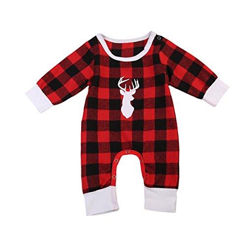 Newborn Baby Boys Girls Long Sleeve Christmas Deer Print Plaid Romper (3-6 Months, Red)