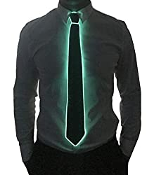 Black Micro Soild-green Light LED Tie