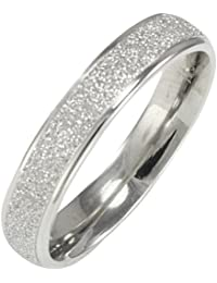Stainless Steel Sparkle 3.8mm Band Ring - Women