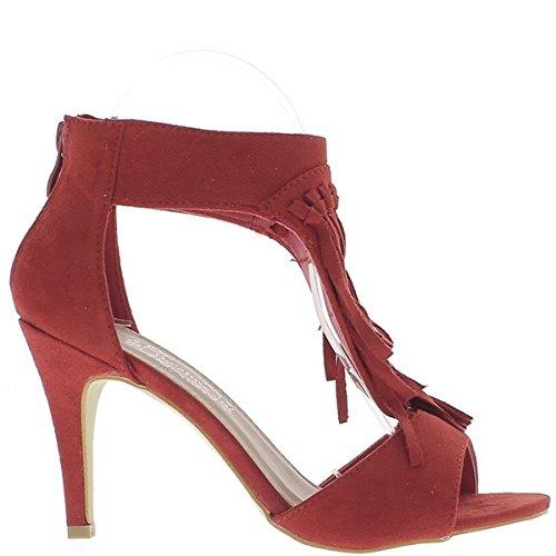 Sandalias rojas para poner fin a 9cm tacón aspecto del ante con flecos en el pie