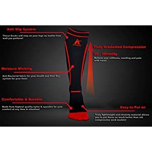 Compression Socks 20-30mmHg for Men & Women Best for Running, Shin Splints, Nurses, Maternity Pregnancy, Flight Travel. True Graduated Fit Boosts Your Endurance, Recovery & Ease Pain (Black/Red, S/M)