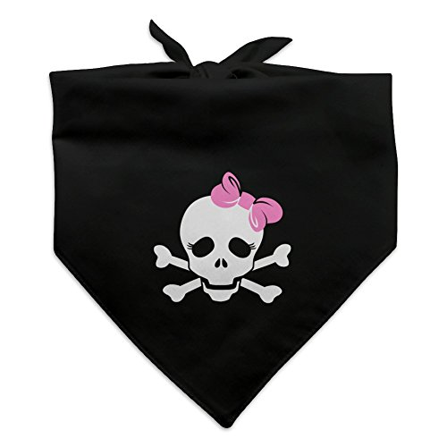- Graphics and More Skulls Crossbones Daughter Stick Figure Family Girl Pink Bow Dog Pet Bandana - Black