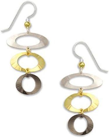 Gold-tone Silver-tone Hematite Open Oval Dangle Drop Earrings Made In USA by Adajio Sienna Sky 7142