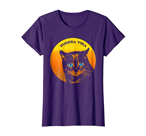 Womens Purring Cat And Sun Purrra Vida Pure Life Funny Cool T-Shirt XL (Famous Halloween Phrases)