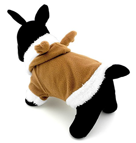 [Ranphy Small Pet Jumpsuit Dog Cat Clothes Fleece Reindeer Halloween Costume Clothing Khaki S] (Deluxe Plush Cow Mascot Costumes)