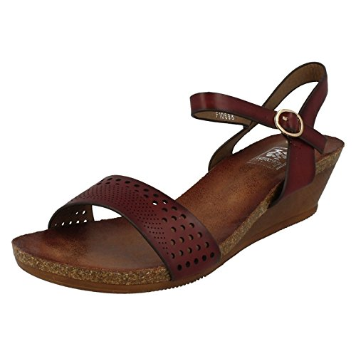 Down To Earth Ladies Wedged Summer Sandals Wine (Red) YdrJd5d3