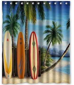 (KXMDXA Amazing Surfboards Waterproof Polyester Bath Shower Curtain Size 60x72 Inch)