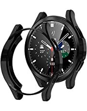 Wiki VALLEY Etui do Samsung Galaxy Watch 4 Classic 46 mm, 2 sztuki w opakowaniu, miękkie etui ochronne z TPU, ultracienkie, odporne na uderzenia etui do Galaxy Watch4 Classic czarne + czarne