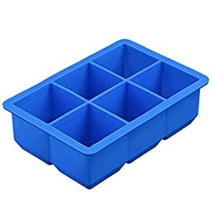 1pcs 6 Holes Big Ice Cube Mold Square Shape Silicone Ice Cube Tray Ice Cube Maker Bar Kitchen Supplies