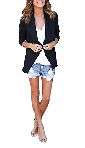 Damen Jacke Mädchen Herbst Elegant Reißverschluss Übergangsjacken Tops Langarm Revers Asymmetrisch Einfarbig Jacken Young Fashion Casual Jacket Outerwear Schwarz