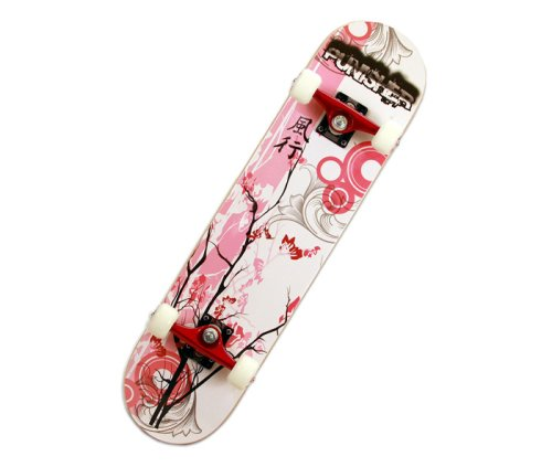 Punisher Skateboards 9001 Cherry Blossom Complete Skateboard, Red, 31-Inch