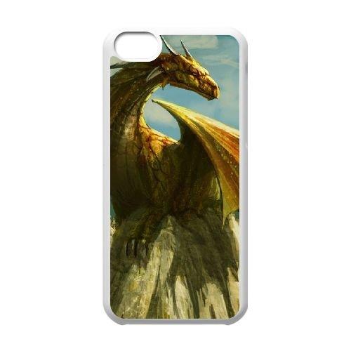 W5H75 de dragon art paining cas de téléphone C7N5PU coque iPhone 5c cellulaire couvercle coque blanche KR0HDC7SG