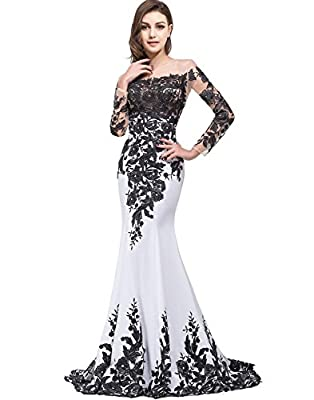OYISHA Womens Lace Applique Evening Dress with Long Sleeves Long Mermaid Wedding Celebrity Gown EV122