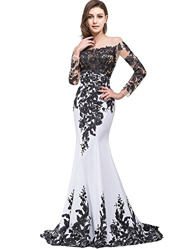 OYISHA Womens Lace Applique Evening Dress with Long Sleeves Long Mermaid Wedding Celebrity Gown EV122 White & Black 12