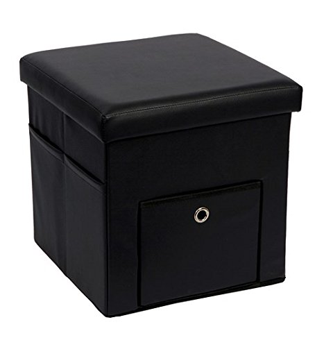 SULIT Faux Leather Folding Storage Ottoman with Pocket and Drawer, Foldable Seat