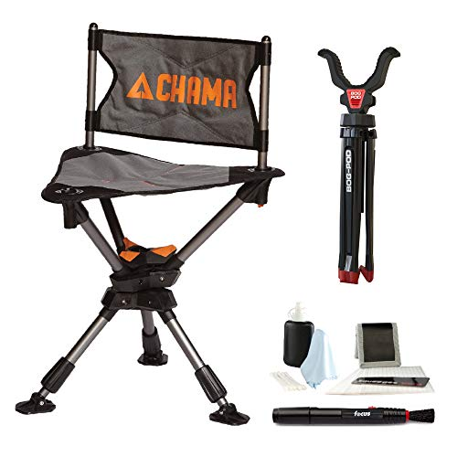 CHAMA Chair All-Terrain Folding Swivel Hunting Chair (Grey) w/BOG-POD Rapid Shooting Rest & Focus Optics Cleaning Kit