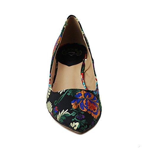 Zapato Tacón Print Floral Mustang 57590 (40, Negro)