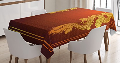 Ambesonne Dragon Tablecloth, Chinese Heritage Historical Asian Eastern Motif with Legendary Creature Design, Dining Room Kitchen Rectangular Table Cover, 60 W X 90 L Inches, Orange Yellow