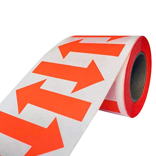 wootile Arrow Stickers - Fluorescent Orange red Arrow Shape Color Coding Inventory Labels 500/roll 2 Inch X 1.25 Inch (Orange red)