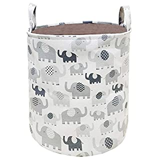 HUAYEE 19.7 Inches Large Laundry Basket Waterproof Round Cotton Linen Collapsible Storage bin with Handles for Hamper,Kids Room,Toy Storage (Thick Elephant)