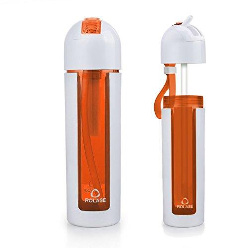 JEANSWSB 18OZ Food Grade Tritan Straw Water Bottle – US FDA Certification 100% Leak Proof Sports Bottles Orange