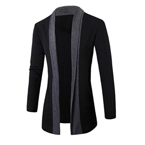 PHOTNO Fashion casual coat jacket Outwear Men Cardigan Jacket sweater Slim Long Sleeve (XXL, Dark Gray)