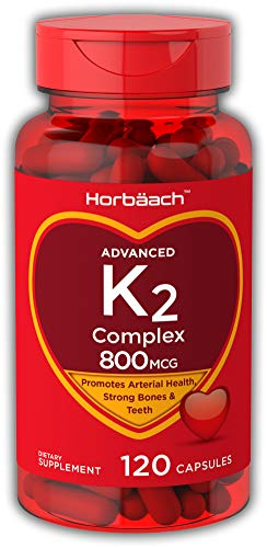 Horbaach Vitamin K2 800 mcg Complex 120 Capsules – Non-GMO, Gluten Free Supplement – MK7, K-2