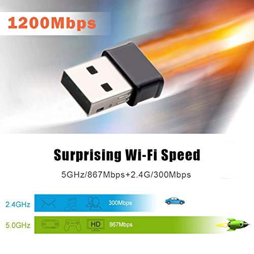 Maxesla Mini WiFi Adapter 1200M 802.11ac Dual Band 2.4//5GHz AC1200 Wireless Network Adapter for PC Desktop Laptop Compatible with Windows Mac OS X USB WiFi Dongle