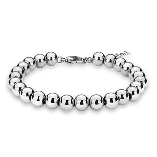 zindov Jewelry Wedding Bridal Stylish Beaded Bracelet in Stainless Steel Balls Chain Great Gift for Women Men Young Adults Silver Color Tone