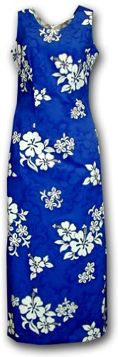 Aloha Dresses White Hibiscus Long Tank Blue M 321-3156 - Aloha White Dress