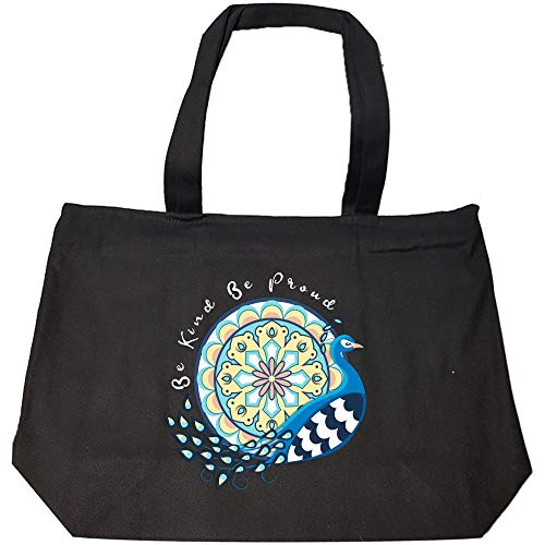 Funny Peacock - Be Kind Be Proud - Wild Blue Animal Bird of Juno Humor - Fashion Zip Tote Bag