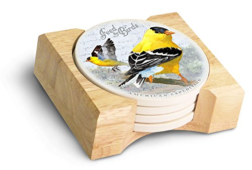 (5 Piece Goldfinch Postcard Stone Coaster Set)