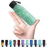 Fidus Upgraded Mini Travel Sun&Rain Windproof Umbrella - Lightweight Folding Compact Portable Parasol Outdoor Umbrellas for Men Women Kids-Green