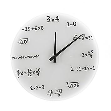 e9c5ea052d3d Reloj De Pared En Blanco matemáticos - fórmulas matemáticas reloj   Amazon.es  Jardín