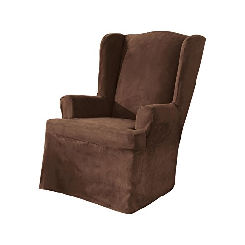 SureFit Soft Suede - Wing Chair Slipcover - Chocolate