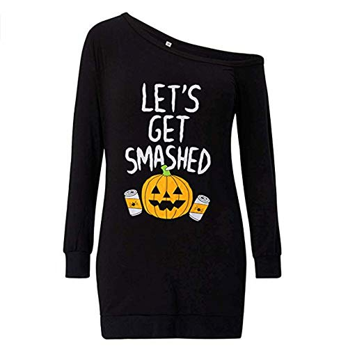 MEANIT Women Slouchy Shirts Halloween Pumpkin Long Sleeve Sweatshirts Pullover -