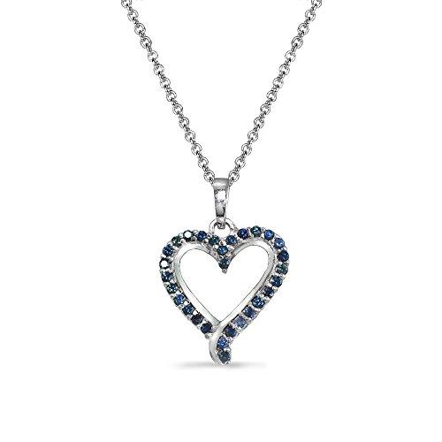 Blue Sapphire Heart Bracelet (Sterling Silver Genuine Blue Sapphire Dainty Open Heart Neckace)