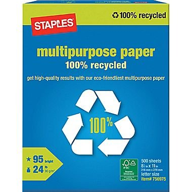 Staples 100 Percent Recycled Multipurpose Paper, Ream