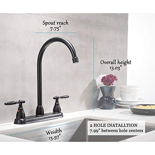VCCUCINE Antique 360 Swivel Spout Two Handle Oil Rubbed Bronze Kitchen Faucet, High Arch Two Hole Kitchen Sink Faucets