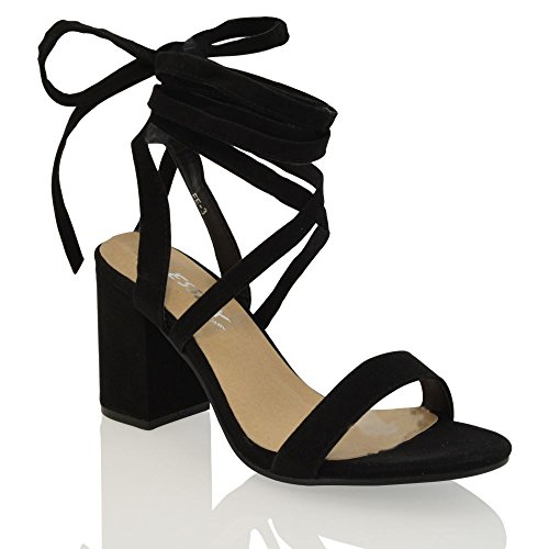ESSEX GLAM Womens Black Faux Suede lace up Block mid Heel Strappy Sandal Shoes 8 B(M) US ()