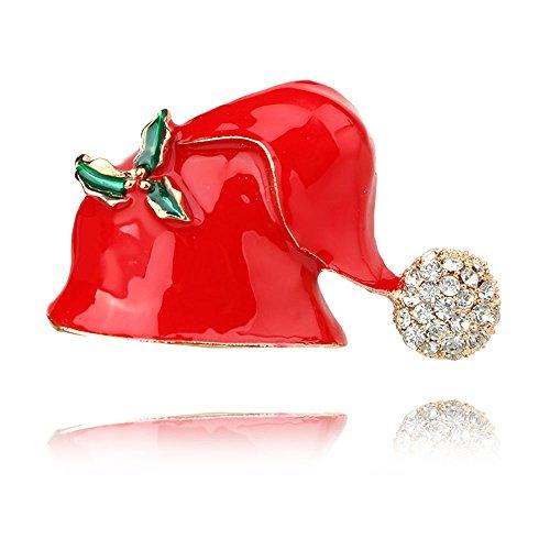 Tidoo Jewelry Rhinestone Crystal Brooch Pin for Women Christmas Ornaments Gifts (Santa Claus'cap)