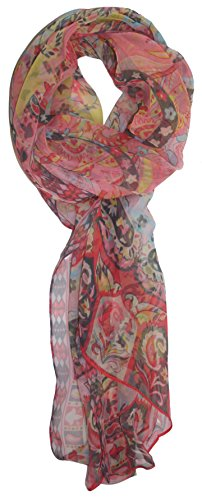 Print Floral Deco - Ted and Jack - Pretty Chiffon Silk Blend Graphic Scarf (Rose Deco Print)