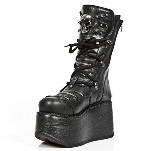 New Rock Laarzen M.ep006-s1 Gothic Hardrock Punk Damen Stiefel Schwarz