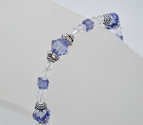 Tanzanite/Clear Austrian Crystal Bali Pewter Bracelet w/Bali Heart Toggle
