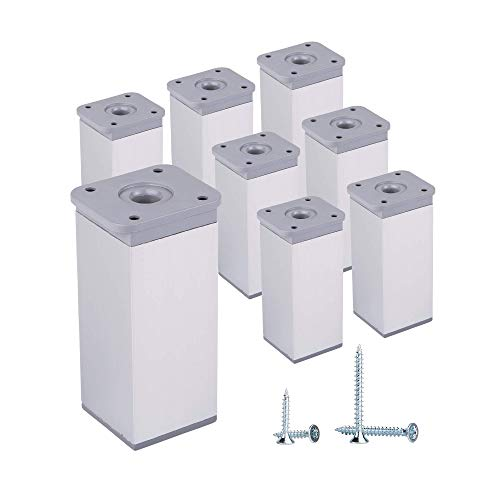 (Paquete de 8 piezas) Patas de muebles de altura ajustable Perfil angular 40 x 40 mm, Materiales Plastico, Aluminio, Tornillos incluidos (8, 10 cm de altura)